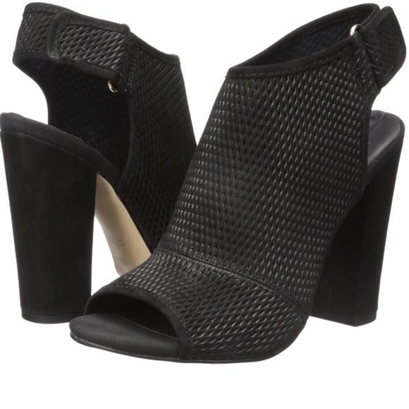 black block heel peep toe boots